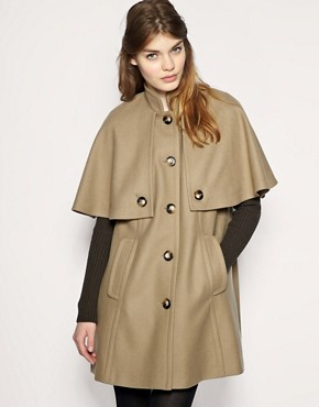 Image 1 of ASOS Ribbed Sleeve Cape Coat