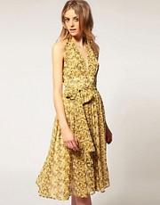 ASOS Printed Midi Dress with Drop Neck