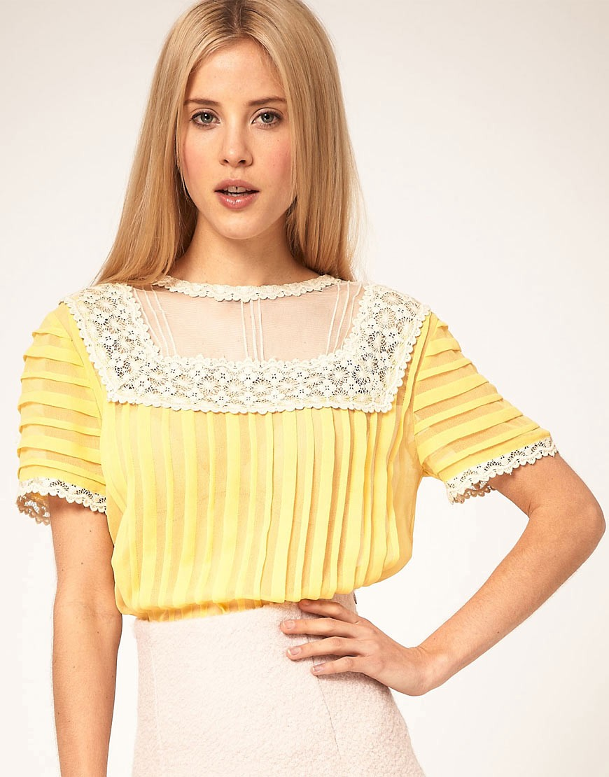 ASOS Blouse With Pleating And Lace Yoke $71.62
