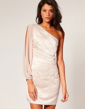 Image 1 of Lipsy Satin Dress With Fluted Chiffon Sleeve