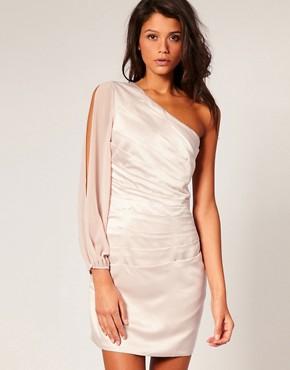 Image 1 ofLipsy Satin Dress With Fluted Chiffon Sleeve