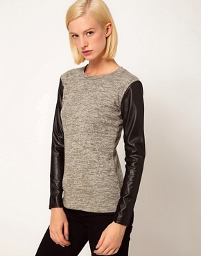 Image 1 of ASOS Top in Knit with Leather Look Sleeves