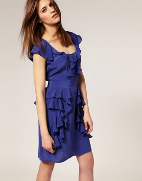Image 1 of Warehouse Silk Ruffle Peplum Dress