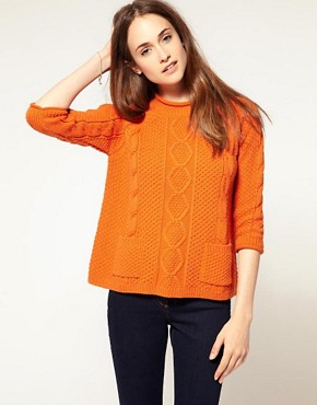Image 1 of River Island Boxy Aran Pocket Front Sweater