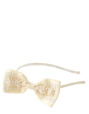 Image 2 of Lipsy Pearl Embellished Bow Hair Band