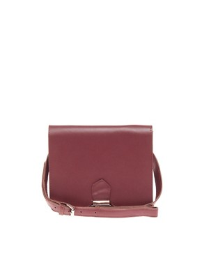 Image 1 of ASOS Leather Push Lock Across Body Bag