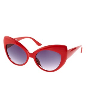 Image 1 of ASOS Oversized Red Cat Eye Sunglasses