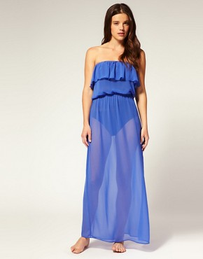 Image 1 of ASOS Chiffon Frill Maxi Beach Dress