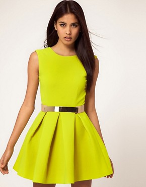 Image 1 of Aqua Floyd Dress Structured Skater with Metal Section Belt