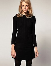 ASOS Jumper With Leopard Faux Fur Collar