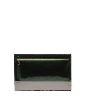 Image 1 of ASOS Flat Zip Contrast Clutch