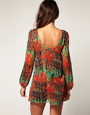 Image 2 of Vero Moda Deco Forest Print Sheer Chiffon Tunic Dress
