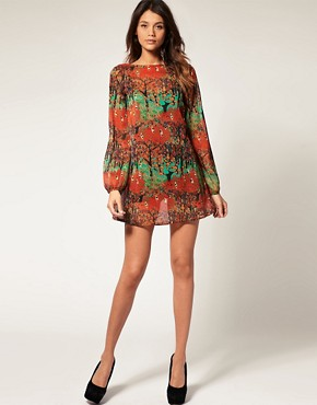 Image 4 of Vero Moda Deco Forest Print Sheer Chiffon Tunic Dress