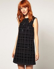 ASOS BLACK Patent Leather Laser Cut Shift Dress