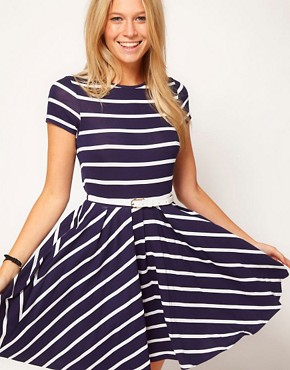 ASOS Skater Dress In Stripe With Belt