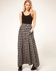 Minkpink 'Check Republic' Button Through Maxi Skirt