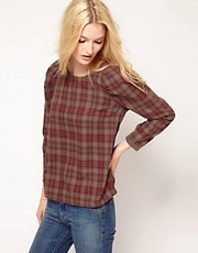 BA&SH Shell Top in Plaid with Puff Sleeve Detail