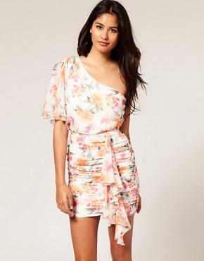 Image 1 ofASOS One Shoulder Dress in Floral Print