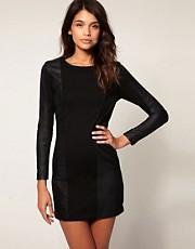 ASOS Premium Leather Dress with Ponti Pannels