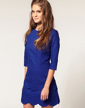 Image 1 of ASOS Textured Pencil Dress with Scalloped Edge