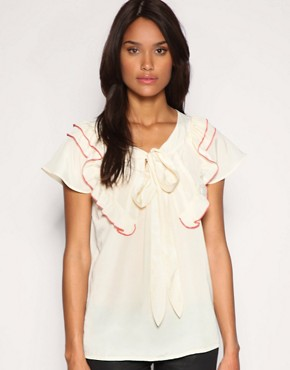 Image 1 ofASOS Contrast Piped Ruffle Pussybow Blouse