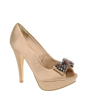 Image 1 of Carvela Gin Bead Bow Front Peep Toe Court
