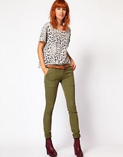 Current/ Elliot Combat Skinny Jeans In Army