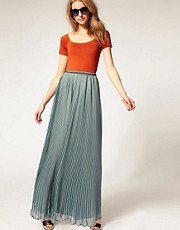 ASOS PREMIUM Chiffon Pleated Maxi Skirt