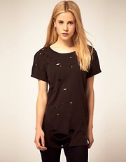 ASOS T-Shirt with Grunge Nibbled Detail