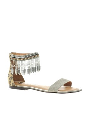 Image 1 of River Island Feather Ankle Chain Flat Sandals