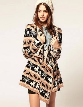 Image 1 of ASOS Blanket Wrap Cardigan With Woodland Creatures