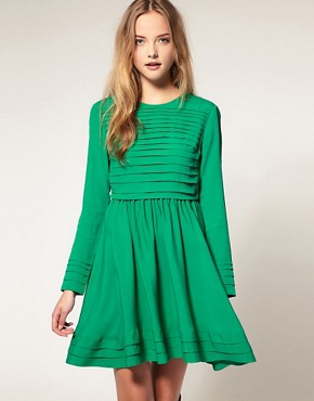 Image 1 ofASOS Fit and Flare Dress With Pleat Detail