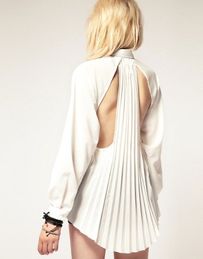 Image 1 of stylestalker Open Back Pleated Shirt