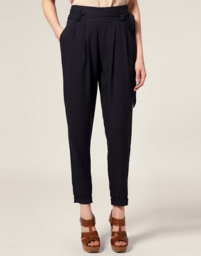 Image 4 of ASOS Tailored Double Belted Peg Trousers