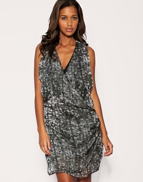 Image 1 of Ringspun Sequin Print Cross Front Dress