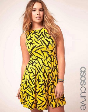 Image 1 of ASOS CURVE Exclusive Skater Dress In Brush Stroke Print