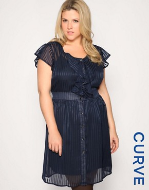 Image 1 of ASOS CURVE Self Stripe Frill Shirt Dress
