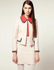 Nishe Scalloped Collar Wool Tailored Jacket