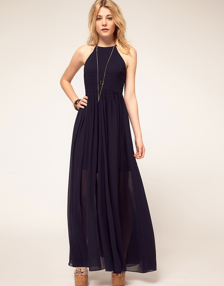 French Connection Navy Halter Maxi