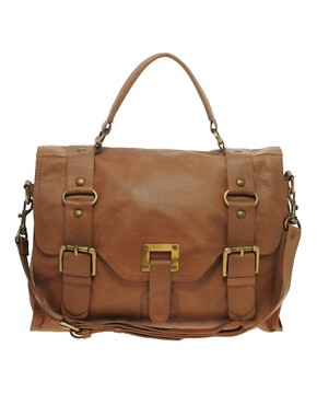 Image 1 of Warehouse Leather Ring Detail Buckle Satchel