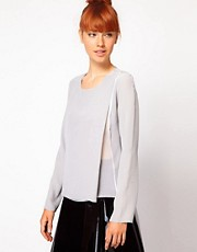 Richard Nicoll Big Tuck Top in Crepe de Chine