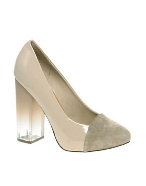 Image 1 of ASOS POWERTRIP Suede Toe And Perspex Heel Court Shoe
