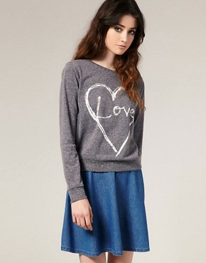 Image 1 of ASOS Scratchy Heart Sweat Top