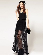 ASOS Maxi Skirt In Mesh Spot