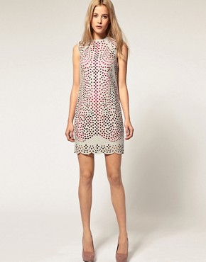 Image 4 of ASOS Shift Dress with Laser Cut Overlay