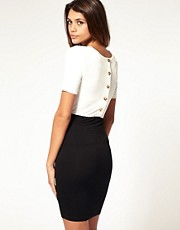 ASOS 2 IN 1 Dress With Gold Button Back Pencil Skirt