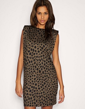 Image 1 of ASOS Animal Print Shoulder Pad Shift Dress