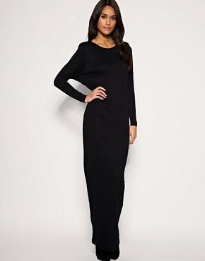 Image 1 ofASOS Shoulderpad Batwing Jersey Maxi Dress