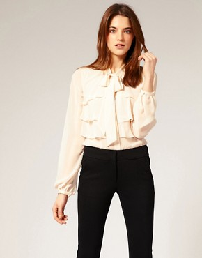 Image 1 of Warehouse Tiered Ruffle Blouse
