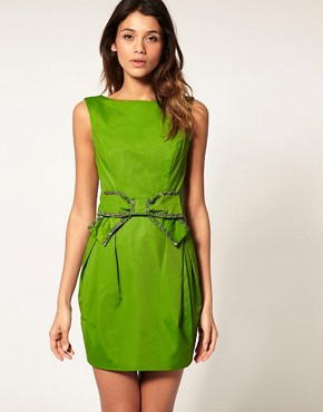 Image 1 of ASOS  DRESS with Embellished V Bow Back